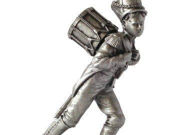 90mm scale Antiqued Napoleonic Drummer Boy Metal Miniature - ED-TR01S