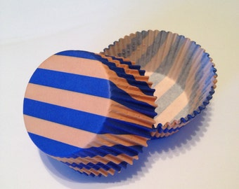 Blue and Orange Stripe Cupcake Liners