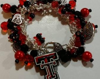 Texas Tech Charm Bracelet
