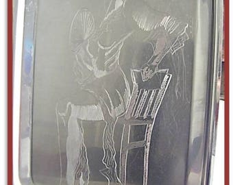 Tray in stainless steel - engraving of a Flamenco dancer