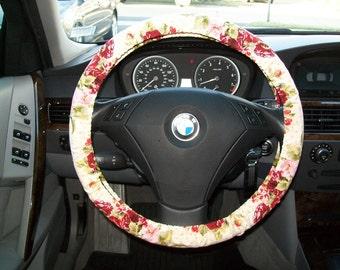 Burgandy Rose Steering Wheel Cover