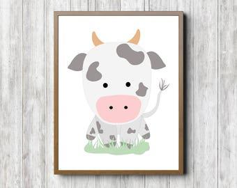 Cute Cow Nursery Printable Wall Art - Farm Animal Poster - Gender Neutral Kids Room Decor - Whimsical Animal Print -16 x 20 -11 x 14 -8 x 10