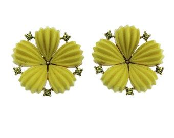 Lisner Yellow Flower Earrings, Lisner Yellow Rhinestone Earrings,  Large Yellow Earrings