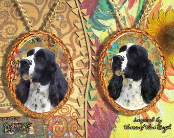 English Springer Spaniel Jewelry Pendant - Brooch Handcrafted Porcelain by Nobility Dogs - Gustav Klimt and Van Gogh