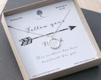 Follow Your North Necklace, Compass Necklace, Friendship Necklace, True North Necklace