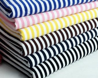 Bright Stripe Fabric White Red Royal Blue Pink Yellow Black Stripe Baby Jersey Knit Cotton Fabric- 1/2 Yard