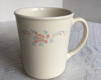 Corning Ware English Breakfast Coffee Cup / Vintage Tempered Glass Mug with Pink Roses