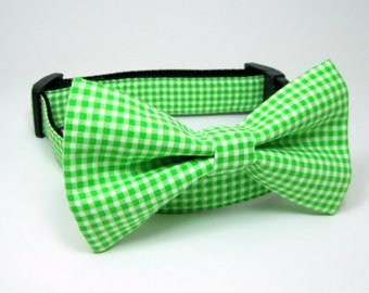 Green Check  Dog Collar  with bow tie set(Mini,X-Small,Small,Medium ,Large or X-Large Size)- Adjustable