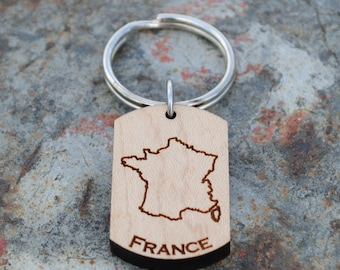 France Wooden Map KEYCHAIN
