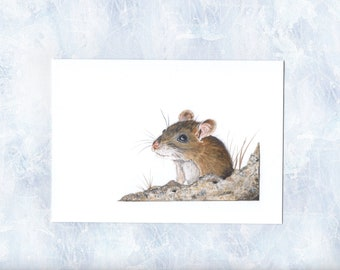 Mouse Card, Print of original watercolour, Mouse Art Card, Wildlife Art, Cute, Animal Print, Nature Illustration