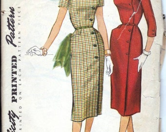 50s dress sewing pattern, Simplicity 1685, Bust 35 inches, vintage sewing patterns