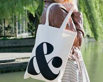 Ampersand - Cotton Tote Bag - Quality Tote Bag - Monogram Tote - Canvas Shopper - Ampersand Tote Bag - Alphabet Bags