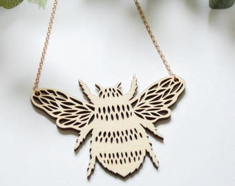 Lasercut Bee Necklace - Papercut Design - Hand Painted