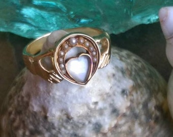 Antique moonstone ring, Moonstone claddagh ring, Antique seed pearl ring, conversion ring, alternative wedding ring, alternative engagement