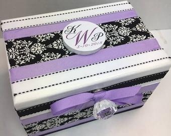 Black ad white Damask Wedding Recipe Box