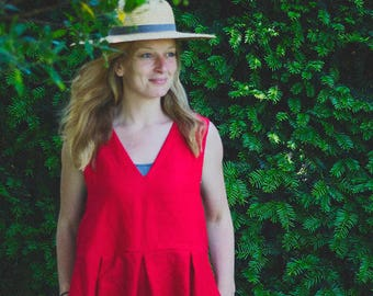 100% Linen Red Pinafore Dress, hand made in London, sustainable, artisan, fashion