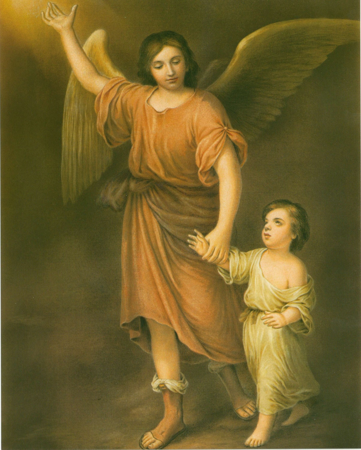 Ángel de la guarda con niño Angel Custodian Murillo arte
