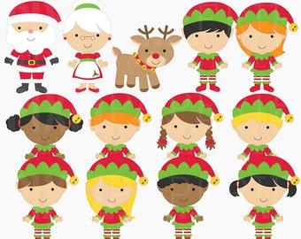 christmas clipart digital clip art santa rudolph elves elf - The North Pole Digital Clipart - BUY 2 GET 2 FREE