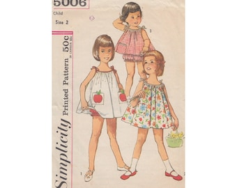 Little Girls Adorable Tent Dress or Top with Panties Simplicity 5006 Vintage 60s Sewing Pattern Toddler Size 2