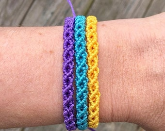 SALE Micro-Macrame Adjustable Bracelet Stack - Purple, Blue and Yellow
