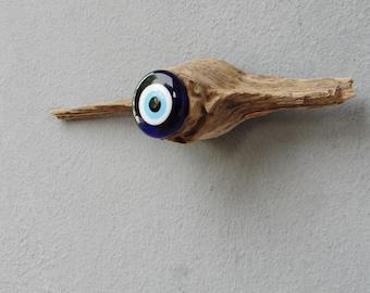 Driftwood Evil Eye Wall Hanging - Beach Home Decor