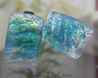 Aqua Ice Glass Clip Earrings, Fused Glass Jewelry from North Carolina