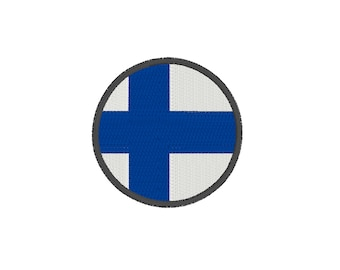 Finland flag circle embroidery design - 3 SIZES small country flag embroidery, Finland embroidery, circular Finnish flag embroidery file pes
