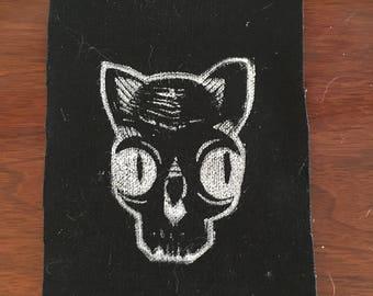 Cat Skull Linoleum Block Print