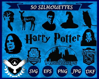 50 Harry Potter Silhouettes   Harry Potter Clipart   Harry Potter SVG   Harry Potter Vector   Hogwarts   Hermione   Gryffindor   Wizard