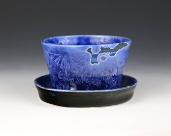 Crystalline Mini Small Planter Icy Blue Black with Drainage Hole #1202