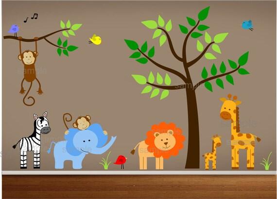 Dschungel-Thema-Kinderzimmer-Wandtattoo
