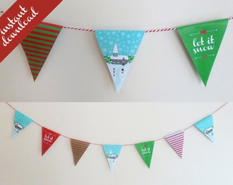 Christmas printable Party Bunting - 2 sizes - Vintage Village design, holidays party decoration, instant download, partyware