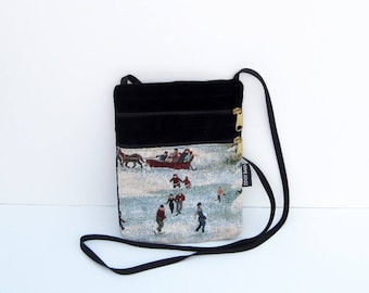 Skaters Tapestry Cross Body Flat Purse