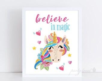 Unicorn Print, Nursery Art, Nursery Decor, Unicorn Decor, Unicorn Wall Art, Unicorn Poster, Girls Room Decor, Unicorn PRINTABLE