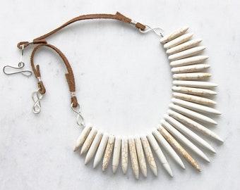 Statement Necklace, White Turquoise Bib Necklace, Spike Necklace, Warrior Necklace, Bohemian Jewelry, Handmade Jewelry