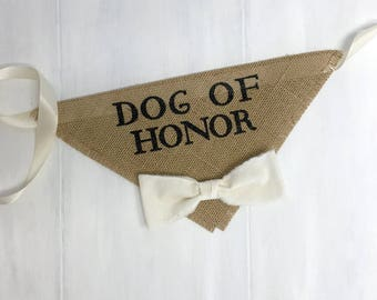 Med/Lrg READY TO SHIP Dog Wedding Bandana Engagement Photos Dog of Honor Collar Fabric Bow Tie Proposal Wedding Accessories