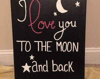 I love you to the moon and back canvas wall art