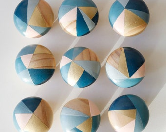 Bluebell. Hand painted colourful blue and pink door knobs handles (price per single knob)