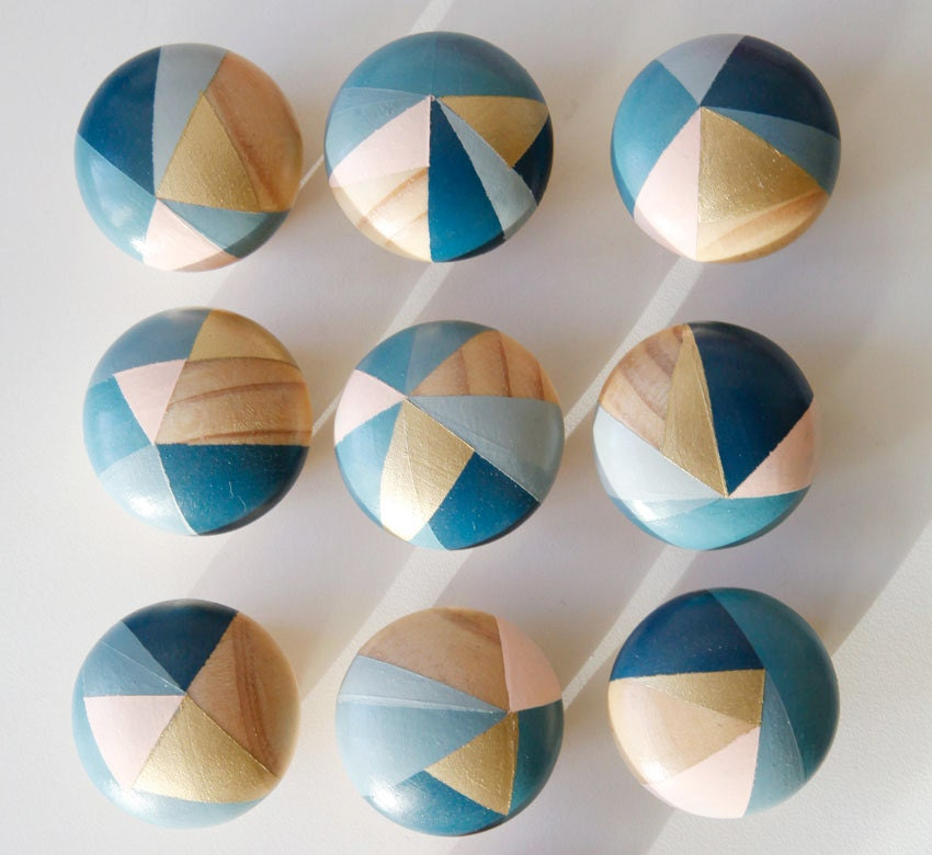 Bluebell. Hand painted colourful blue and pink door knobs handles ...