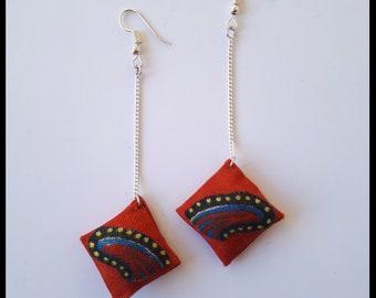 Earrings dangling silver chain and Wax pattern