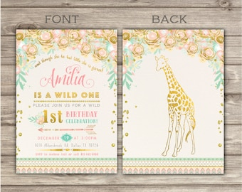 Zoo Wild One Birthday GIRAFFE Invitations Faux Glitter Spring girl First Summer Animals Birthday Printable Zoo birthday Tribal Safari NV2238