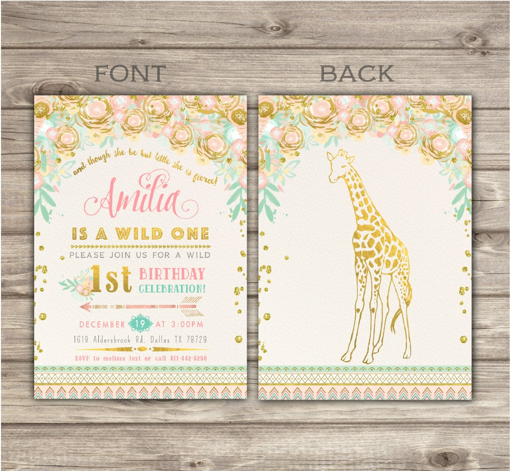 Zoo Wild One Birthday GIRAFFE Invitations Faux Glitter Spring