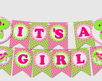 DIY Pink Turtle Baby Shower Banner 'IT'S A GIRL' - printable, pdf, Instant Download