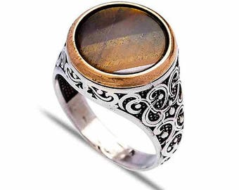 Sterling Silver Circle Cut Tiger Eye Mens Ring