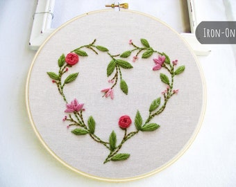 IRON-ON Transfer Botanical Heart Flowers and Leaves