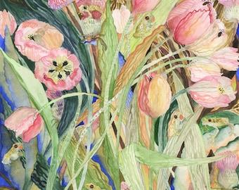Art Print Original Watercolor Tulips and Peepers