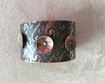 Copper Cuff Embossed with Riveted Disks