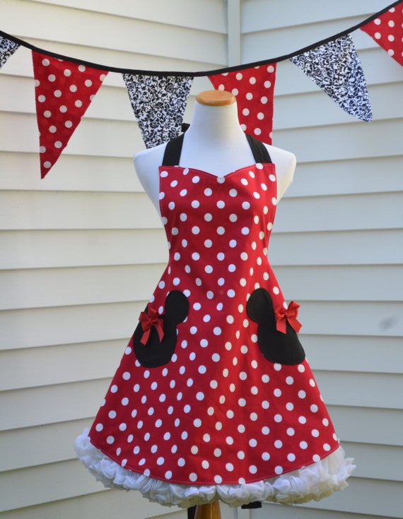 Minnie Mouse Apron, Womens Full Cooking Apron, Reversible Apron, Inspired Minnie with Mickey Head Pockets