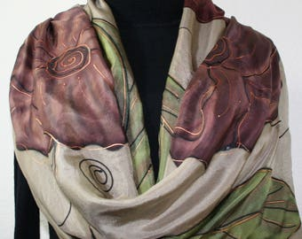 Silk Scarf Brown Taupe Hand Painted Silk Shawl CAPPUCCINO GARDEN, in 3 SIZES. Silk Scarves Colorado. Elegant Gift, Christmas, Birthday Gift