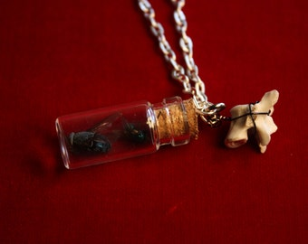Fly/Bone Jar Necklace.